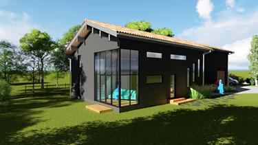 Maison ossature bois, infographie biscarrosse