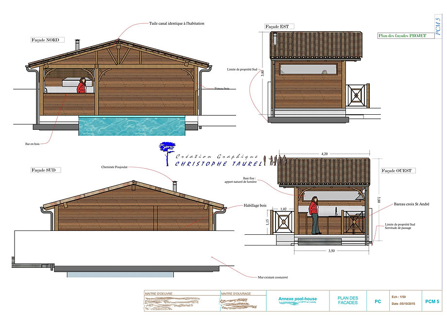 Pool house et cuisine d 39 t france christophe taurel - Plan cuisine d ete ...