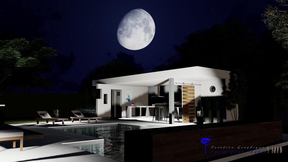 Pool house, éclairage extérieur