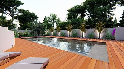 éclairage Led piscine contemporaine.