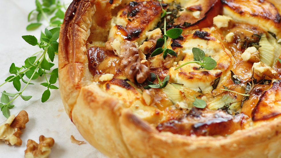 GOATS CHEESE, THYME & CARAMELIZED RED ONION TART