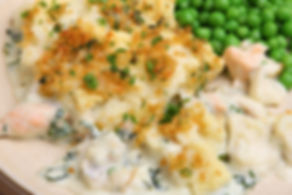 Fish pie baked with salmon and haddock,