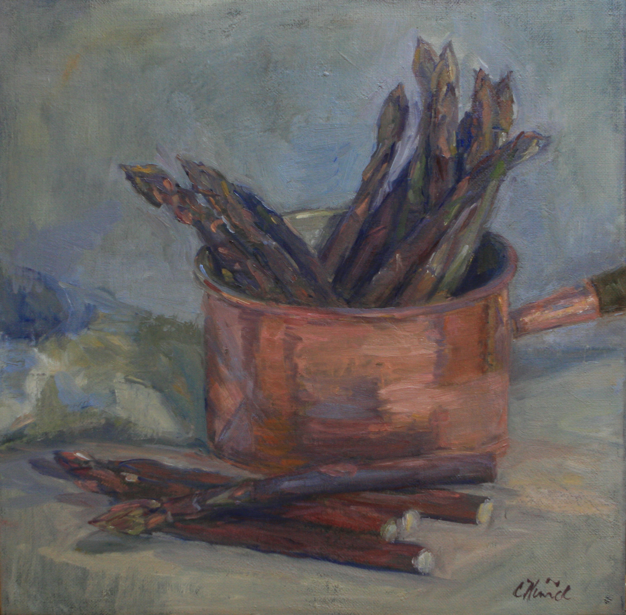 Copper Pot & Asparagus SOLD