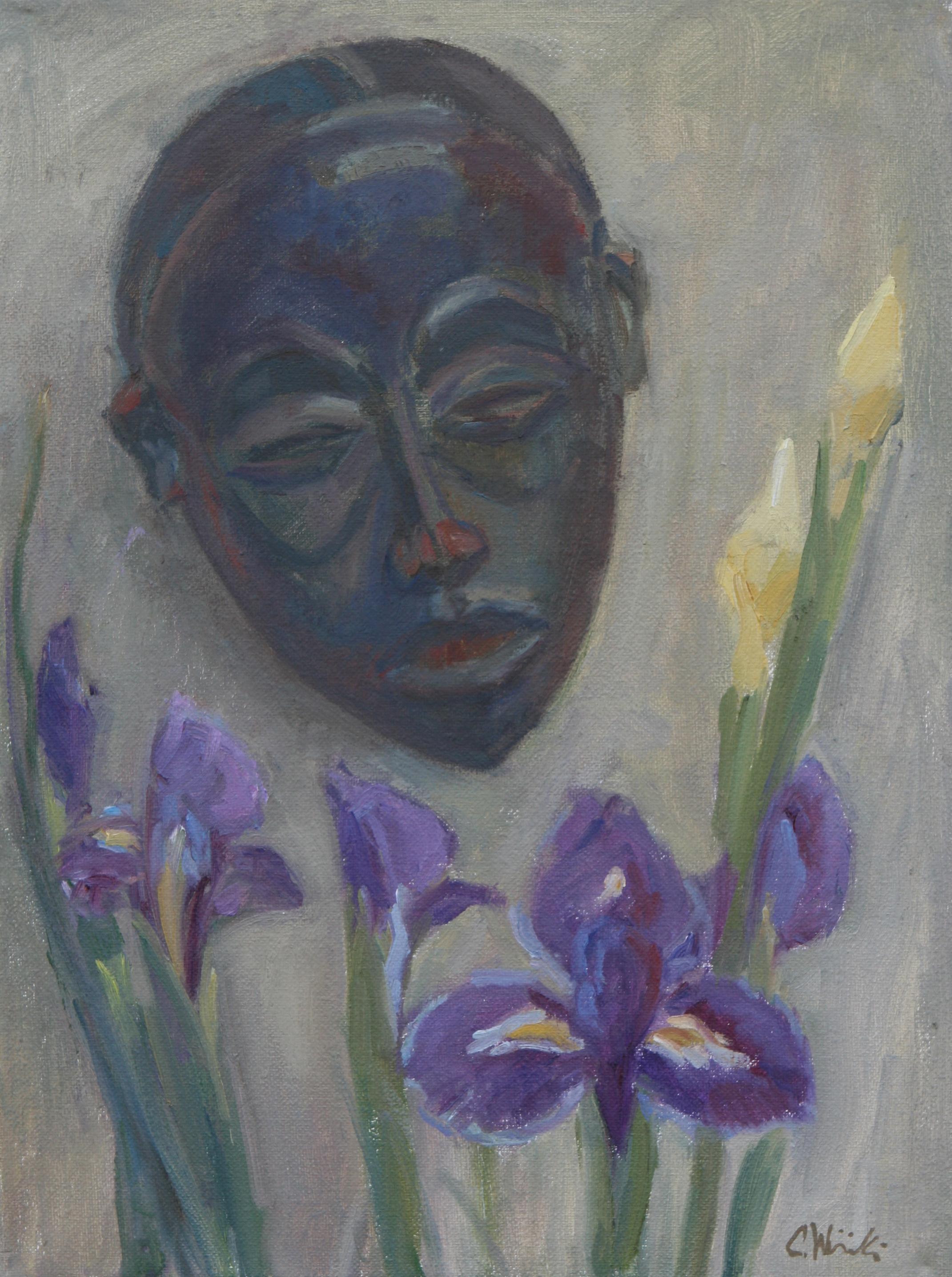 African Mask with Irises