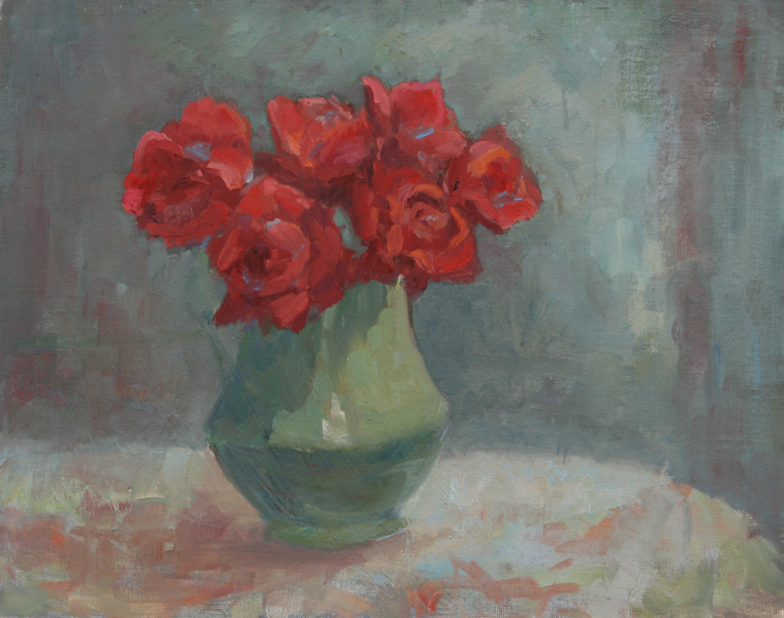 Red Roses in a Green Pitcher