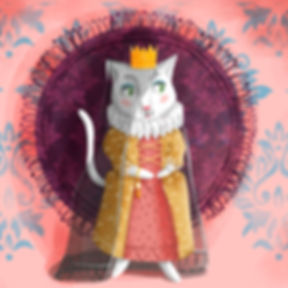 Illustration of a white cat. Folktale illustration for children.