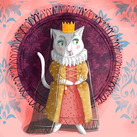 Illustration of a white cat. Folktale illustration for children.