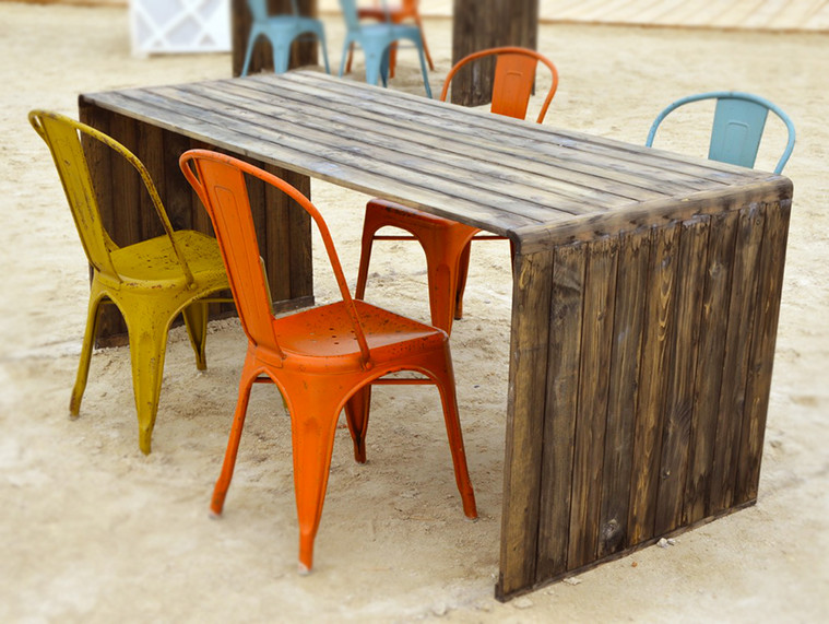 Distressed Table & Retro Chairs