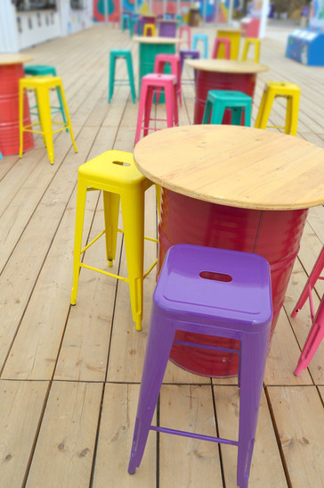 Oil Drum Bar Table and Stools