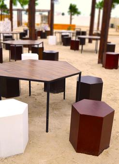 Hexagonal Table & Stools
