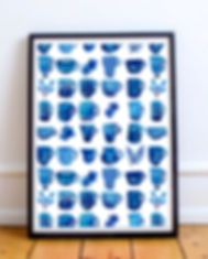 Blue Cups print by Ruth Burrows