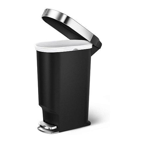 40L Single Compartment Plastic Slim Pedal Bin with Liner Rim