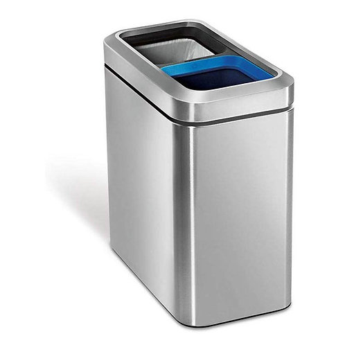20L (10/10) Slim Open Bin Dual Compartment in Brushed Stainless Steel