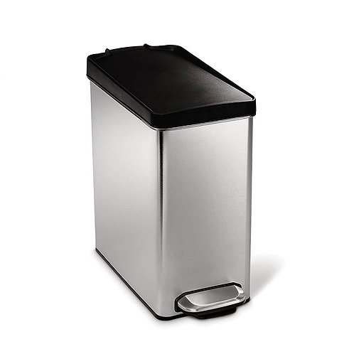 10L Single Compartment Profile Pedal Bin in Brushed Steel with Black Plastic Lid