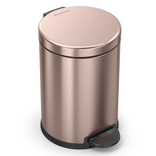 4.5L Compartment Round Pedal Bin Single in Rose Gold Stainless Steel