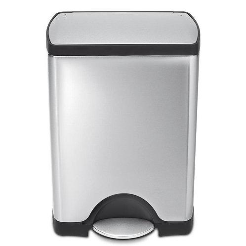 Rectangular pedal bin, 30 litre, FPP brushed steel