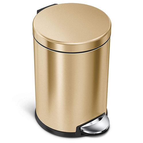 4.5L Compartment Round Pedal Bin Single in Brass Stainless Steel