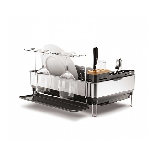 Steel Frame Dishrack w/ wine glass holder in Brushed Stainless Steel