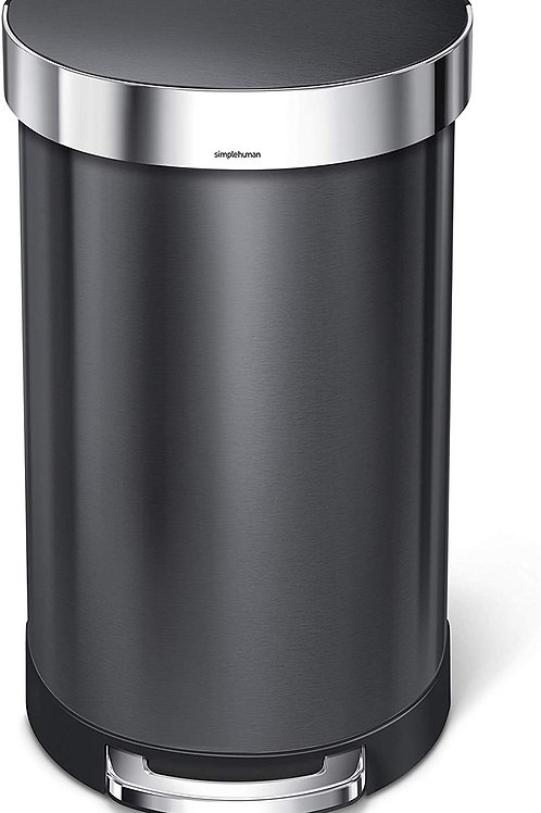 45L Semi-Round Single Compartment Pedal Bin in Black Stainless Steel