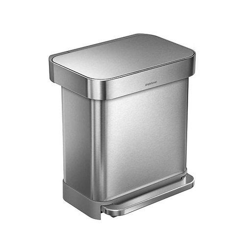 Simplehuman stainless steel 30L rectangular pedal bin with bin bag pocket