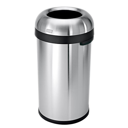"60-Litre Heavy-Gauge Brushed Stainless Steel ""Bullet"" Round Open Top Bin"