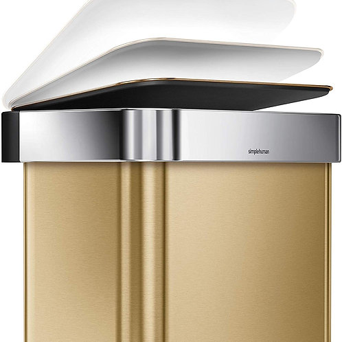 45 Litre Rectangular Pedal Bin with Liner Pocket in Brass Stainless Stee