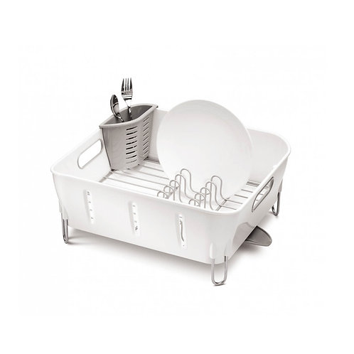 Compact Dishrack in White Plastic