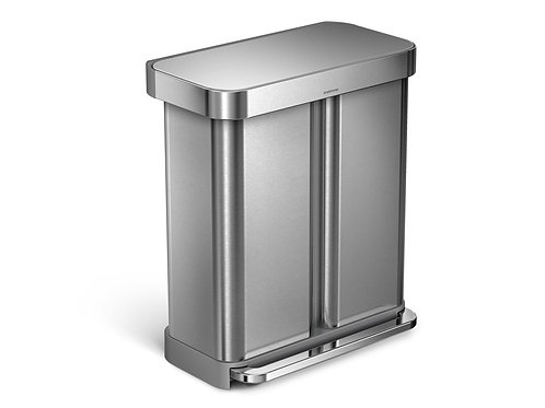 58 Litre Dual Compartment Rectangular Step Can with Liner Pocket
