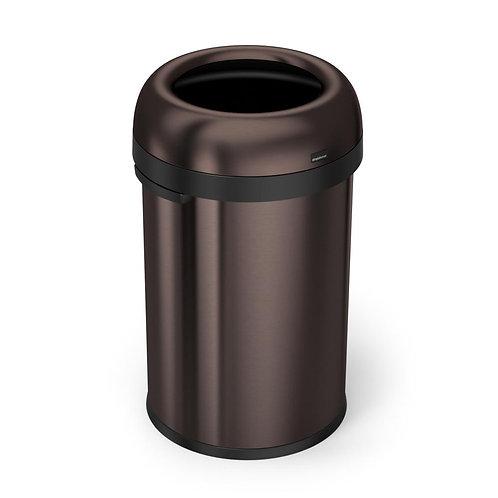 """115-Litre Dark Bronze Heavy-Gauge Stainless Steel """"Bullet"""" Round Open Top Bin"""