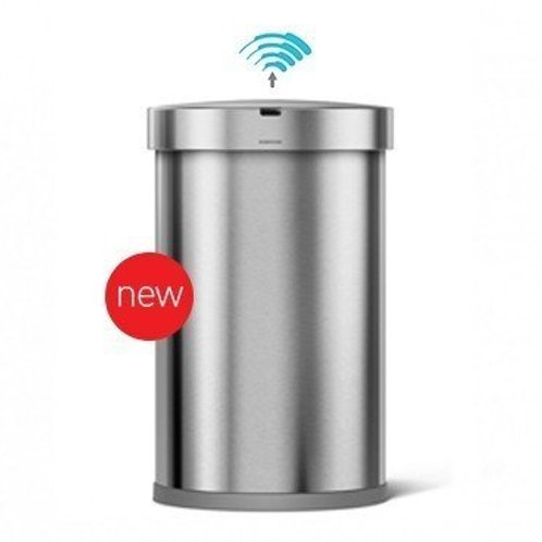 45 Litre Stainless Steel Semi-Round Sensor Bin with Liner Pocket