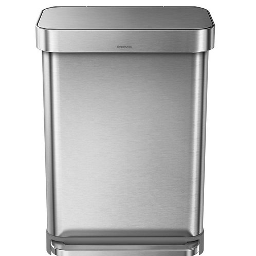 55 litre Stainless Steel Rectangular Pedal Bin with Liner Pocket