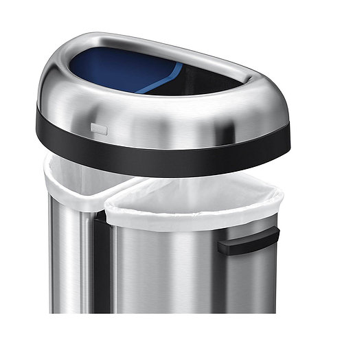 66L Dual Compartment Semi-Round Open Bin in Brushed Heavy-Gauge Stainless Steel