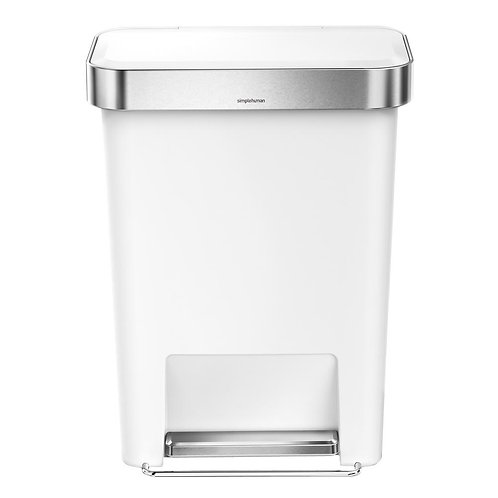 45-Litre White Plastic Rectangular Liner Rim Step-On Bin