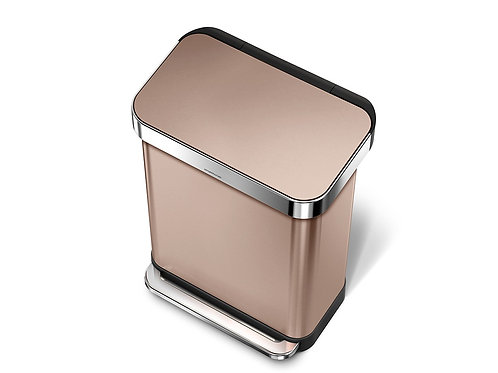 55 litre rectangular pedal bin  with liner pocket rose gold stainless steel