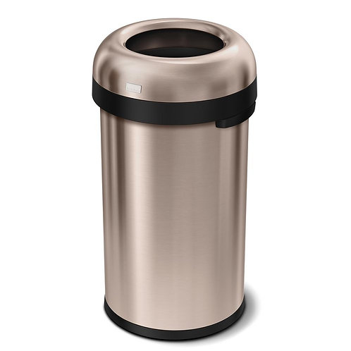 """60-Litre Rose Gold Heavy-Gauge Stainless Steel """"Bullet"""" Round Open Top"""