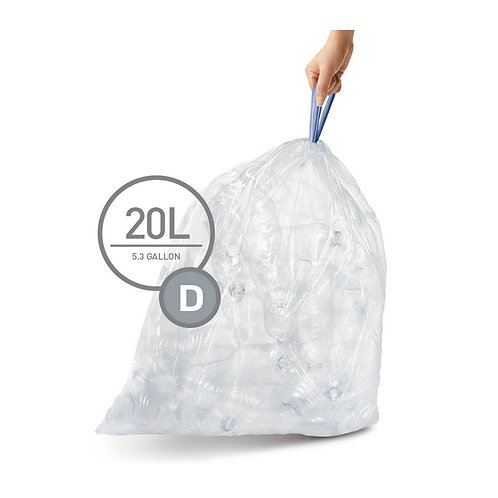 Code D, 3 x Pack of 20 (60 liners), Clear Plastic