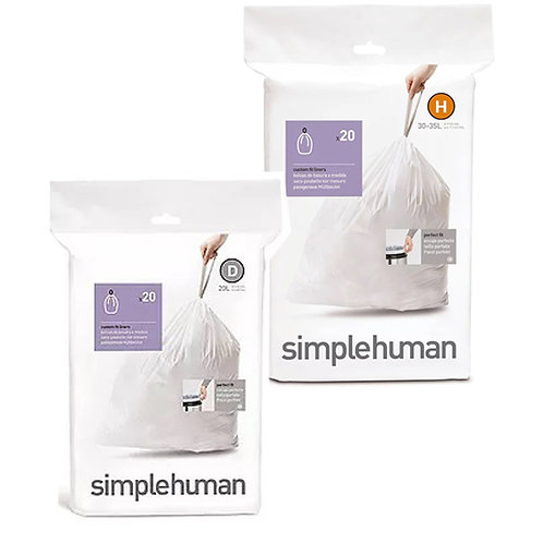 SimpleHuman H pack of 20 and D pack of 20