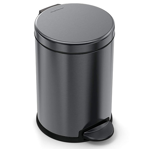 4.5L Compartment Round Pedal Bin Single in Black Stainless Steel