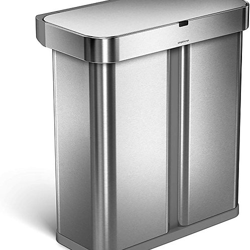 58L (34/24), Dual Compartment Rectangular Sensor Bin with Voice and Motion Contr