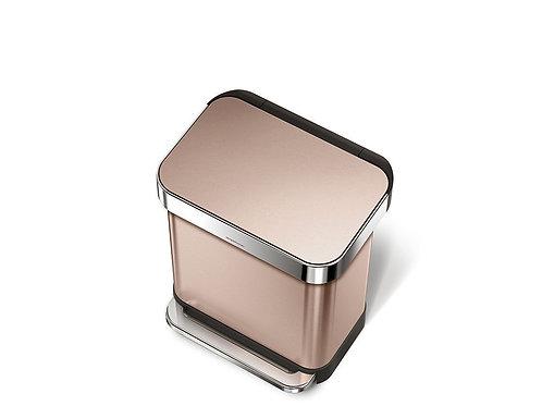 45 litre rectangular pedal bin with liner pocket rose gold stainless ste