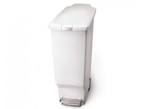 40 Litre Slim Pedal Bin White Plastic