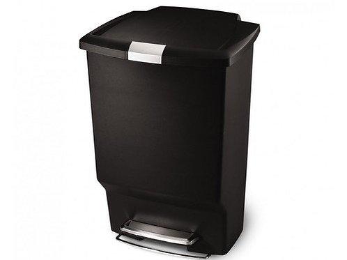 45 litre rectangular pedal bin black plastic