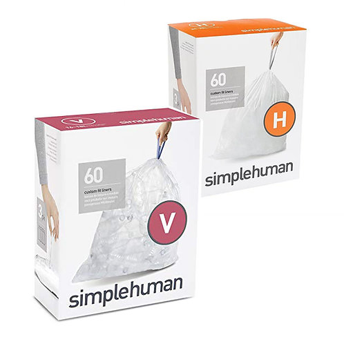 SimpleHuman H and V packs of 60 (clear)