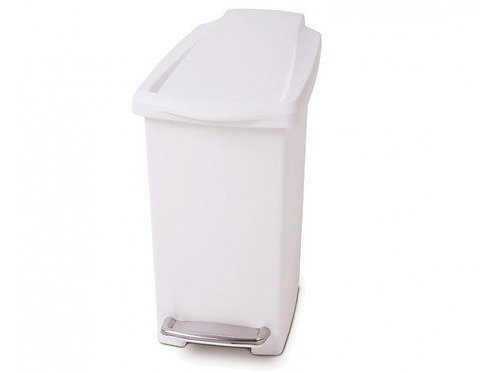 10 Litre Slim Pedal Bin White Plastic