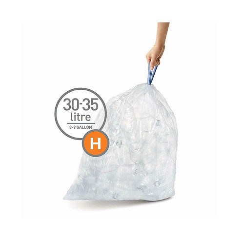 Code H, 3 x Pack of 20 (60 liners), Clear Plastic