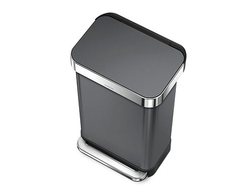 45 Litre Rectangular Pedal Bin with Liner Pocket in Black Stainless Steel
