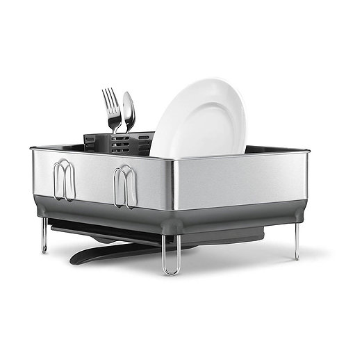 Compact Steel Frame Dishrack in Brushed Stainless Steel
