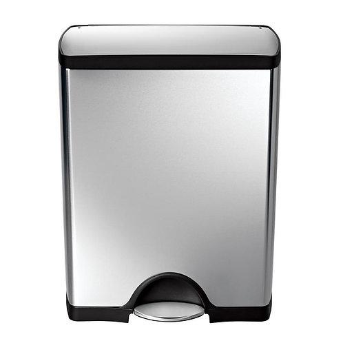Rectangular pedal bin, 50 litre, FPP brushed steel