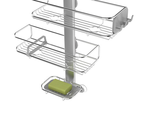 our redesigned adjustable shower caddy is sleeker neater and more secure the shelves are fully adjustable and even easier to reposition with our new