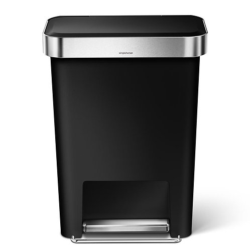 45-Litre Black Plastic Rectangular Liner Rim Step-On Bin
